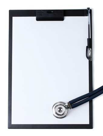 stethoscope and black clipboard isolated on white Stock Photo - 13083553