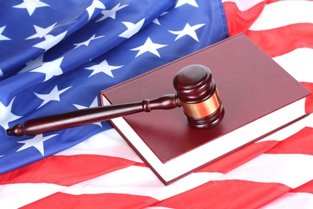 judge gavel and book on american flag background Stock Photo - 13084898