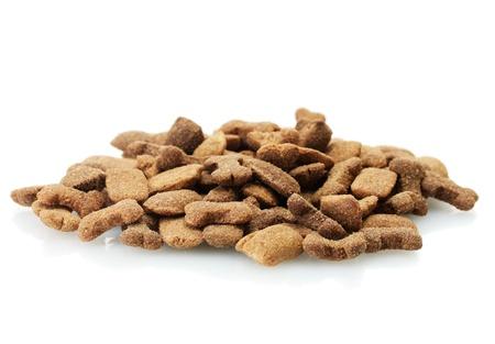 dry dog food isolated on white photo