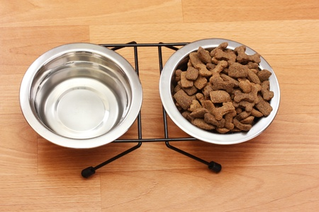 dog food: dry dog food and water in metal bowls on the floor