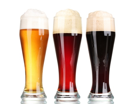 three glasses with different beers isolated on white Stock Photo - 13083514