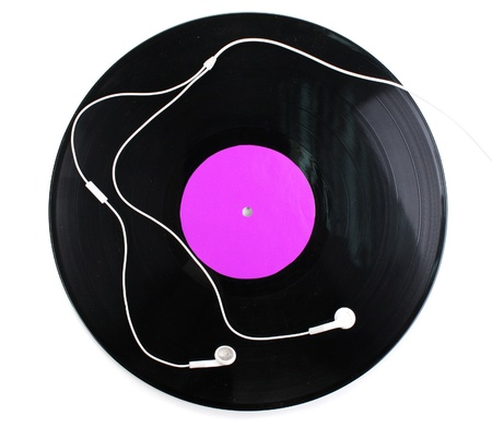 Black vinyl record and headphones isolated on white Stock Photo - 13082586
