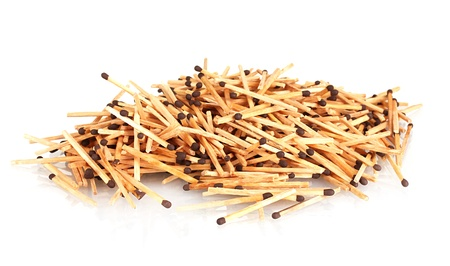 consumable: pile of matches isolated on white