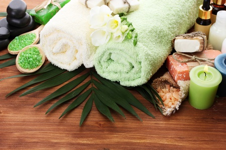 Spa setting on wooden background Stock Photo - 13084794