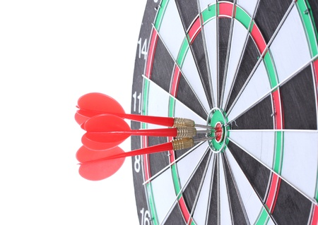 dart board with darts isolated on white Stock Photo - 13084213