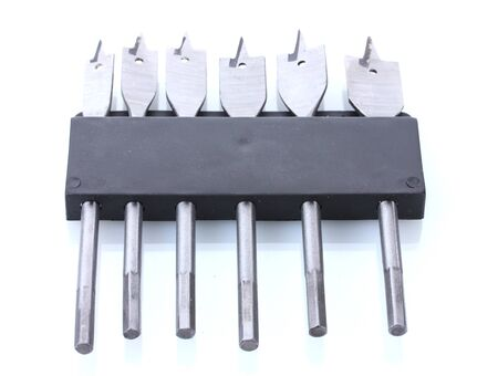drill bits for wood in holder isolated on white photo