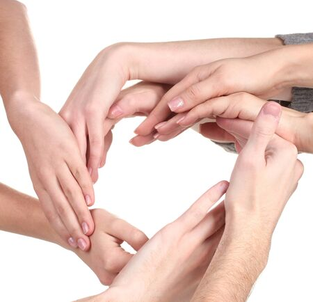 group of young peoples hands isolated on white photo