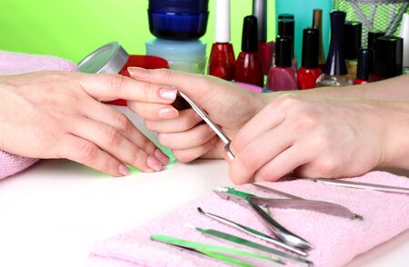 Manicure process in beautiful salon Stock Photo - 13104286