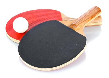ping-pong rackets and ball, isolated on white Stock Photo - 13104346