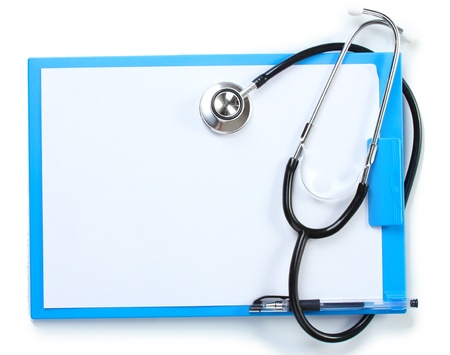 stethoscope and blue clipboard isolated on white photo