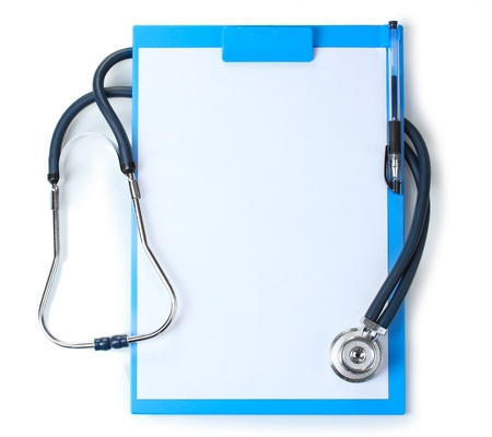 cardiac care: stethoscope and blue clipboard isolated on white
