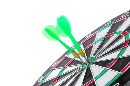 dart board with darts isolated on white Stock Photo - 13104352