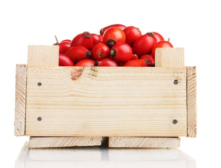 ripe briar in wooden box isolated on white photo