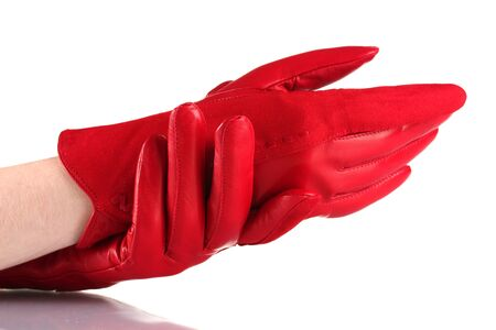 leather gloves: womens hands in red leather gloves isolated on white