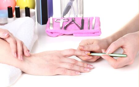 Manicure process in beautiful salon Stock Photo - 13178886