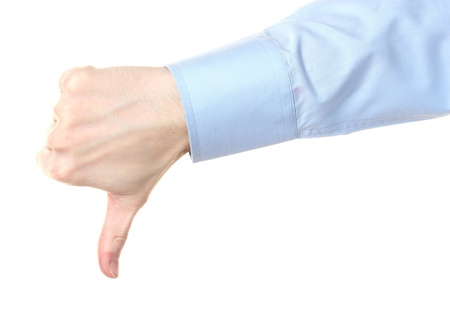 mans hand with thumb down isolated on white  photo