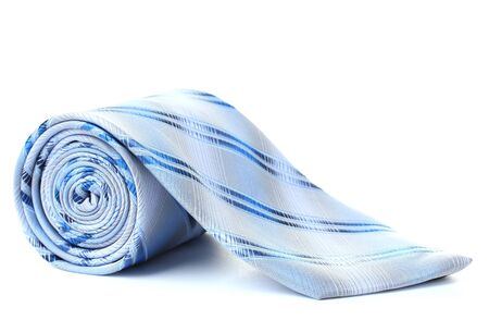 necktie: Blue rolled tie isolated on white