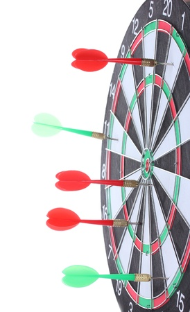 dart board with darts isolated on white photo