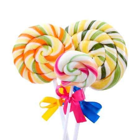 lolli: Colorful lollipops with ribbons isolated on white