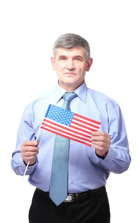businessman with american flag isolated on white photo