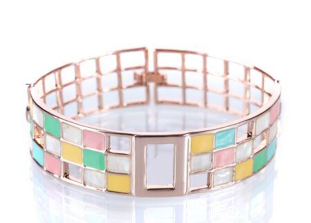 Beautiful golden bracelet isolated on white Stock Photo - 13178175