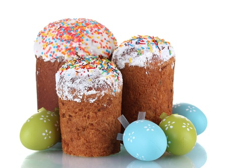 Beautiful Easter cakes and colorful eggs isolated on white Stock Photo - 13179018