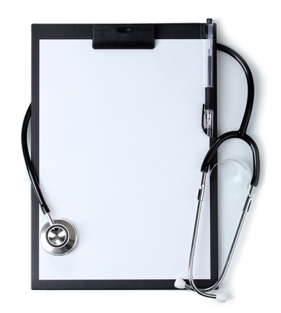 medical clipboard: stethoscope and black clipboard isolated on white