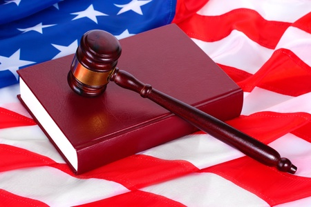 judge gavel and book on american flag background Stock Photo - 13223967