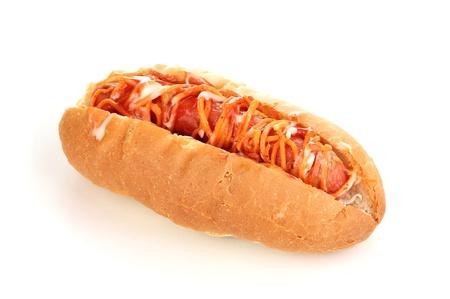 Appetizing hot dog isolated on white photo