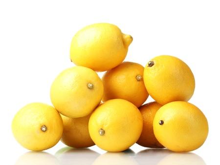 lemons: ripe lemons isolated on white Stock Photo
