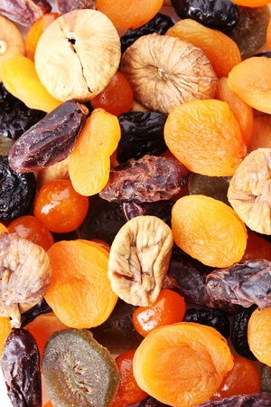 Dried fruits close up photo