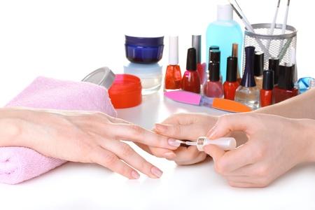 nail brush: Manicure process in beautiful salon