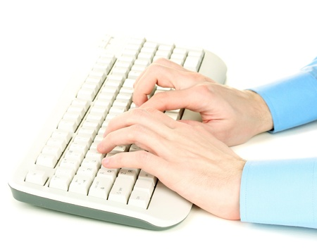 male hands typing on the keyboard isolated on white Stock Photo - 13267447