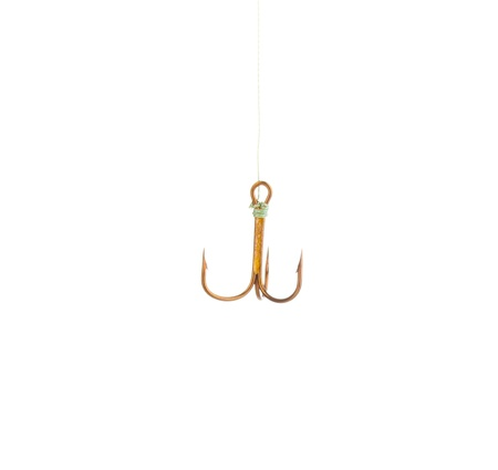 Treble fish hook isolated on white photo