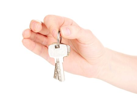 Keys in hand isolated on white Stock Photo - 13268246