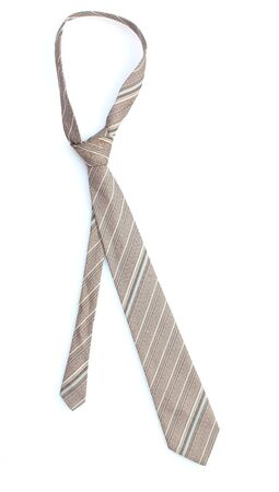 Elegant grey tie isolated on white
