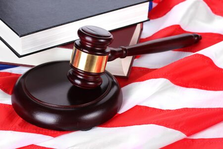 judge gavel and books on american flag background Stock Photo - 13265375