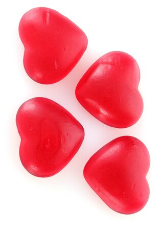 valentinas: red candy hearts isolated on white Stock Photo