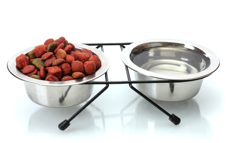 dry dog food and water in metal bowls isolated on white photo