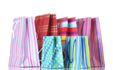 bright shopping bags isolated on white photo