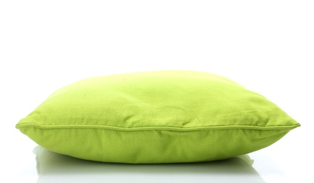 cushion: green bright pillow isolated on white
