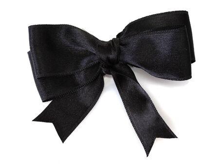 ruban noir: noeud de ruban noir isolé sur blanc Banque d'images