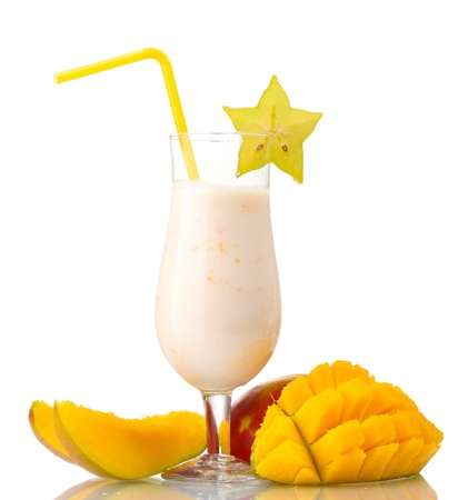 Milk shake with mango isolated on white photo