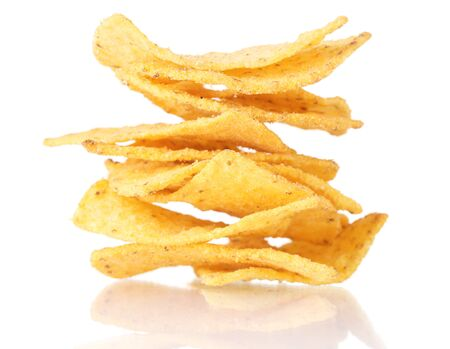 tasty potato chips isolated on white photo