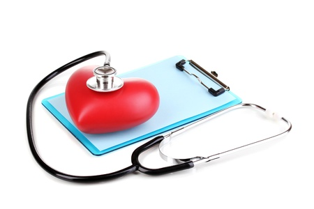 Stethoscope, heart and blank clipboard isolated on white Stock Photo - 13374818