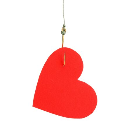 Heart on fish hook isolated on white Stock Photo - 13375078