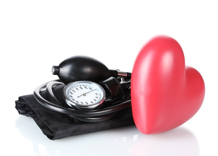 Black tonometer and heart isolated on white Stock Photo - 13374447