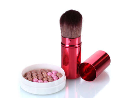 red brush for make-up with powder balls isolated on white photo