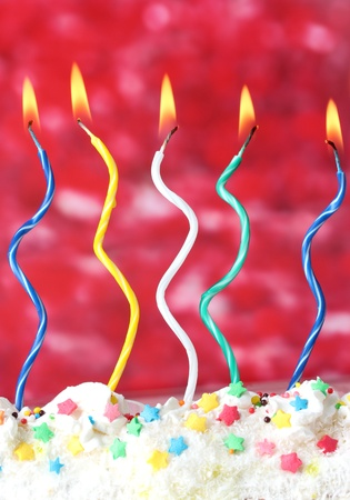 commemorate: beautiful birthday candles  on red background Stock Photo