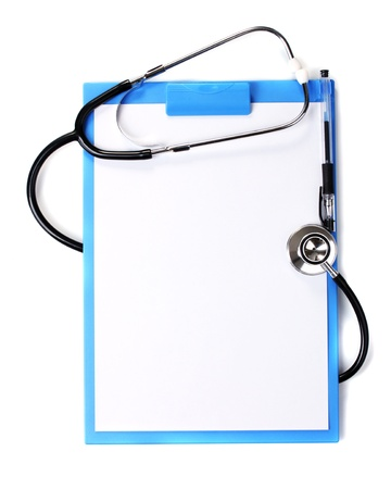 stethoscope and blue clipboard isolated on white Stock Photo - 13374769